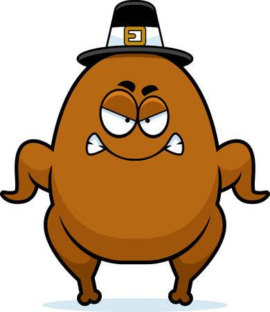 pilgrim: A cartoon illustration of a turkey pilgrim looking angry.