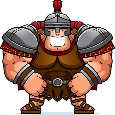 roman soldiers: Un fumetto illustrazione di un muscoloso centurione romano in armatura sorridente.