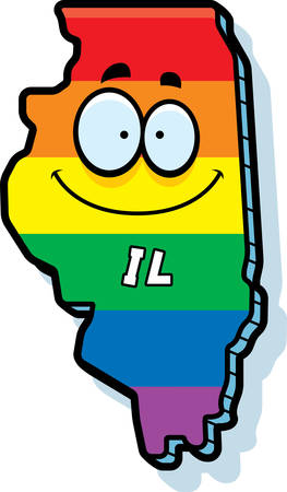 gay marriage: A cartoon illustration of the state of Illinois smiling with rainbow flag colors.