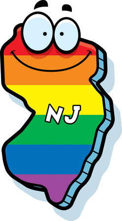 rainbow flag: A cartoon illustration of the state of New Jersey smiling with rainbow flag colors.