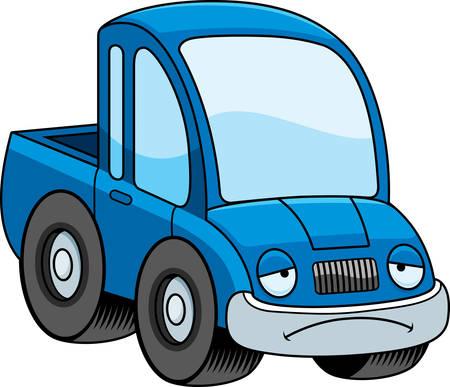 camioneta pick up: Una ilustraci�n de dibujos animados de una camioneta con cara de tristeza.