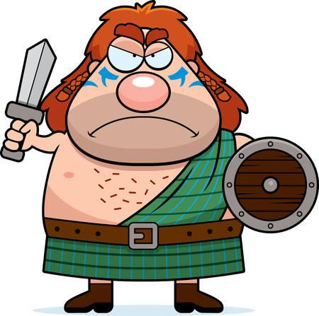 guerrero: Una ilustraci�n de dibujos animados de un guerrero celta que parece enojado.