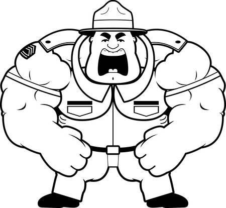 sergeant: A cartoon illustration of a muscular drill sergeant yelling.