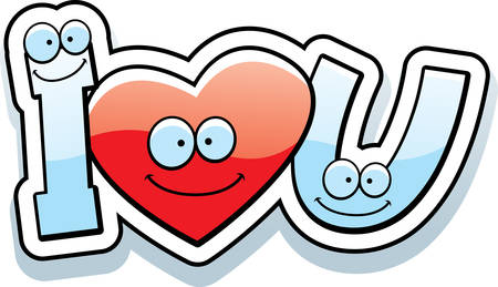 i love u: A cartoon illustration of the text I love U with a heart theme.