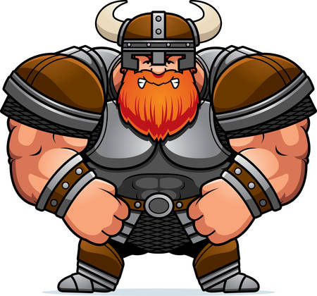 A cartoon illustration of a muscular Viking looking angry.