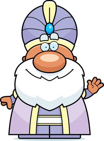 maharaja: A cartoon illustration of a maharaja waving.