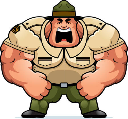 Una ilustración de dibujos animados de un musculoso gritos sargento.