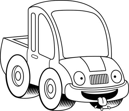 A cartoon illustration of a pickup truck looking hungry.