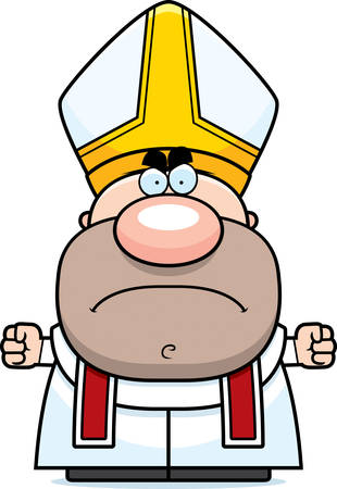 A cartoon illustration of a pope with an angry expression.