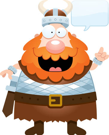 norse: A cartoon illustration of a Viking talking. Illustration