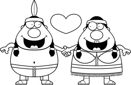 couple holding hands: A cartoon illustration of a Native American couple holding hands and in love.