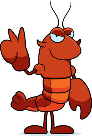 A cartoon illustration of a crawfish giving the peace sign.