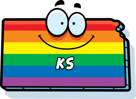 rainbow flag: A cartoon illustration of the state of Kansas smiling with rainbow flag colors.