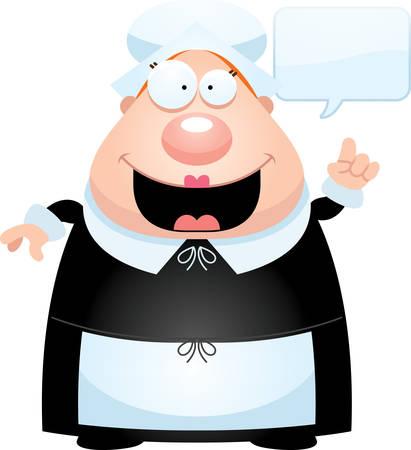 A cartoon illustration of a pilgrim talking.