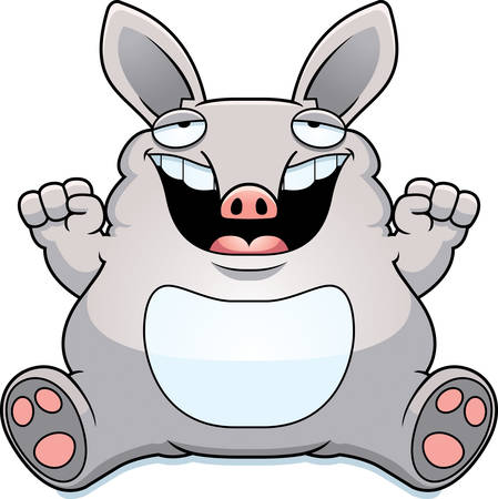 aardvark: A cartoon illustration of a fat aardvark smiling and sitting.