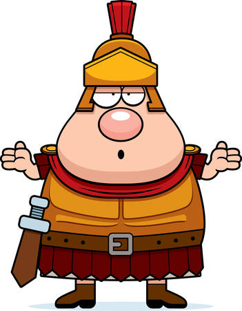 A cartoon illustration of a Roman Centurion looking confused.