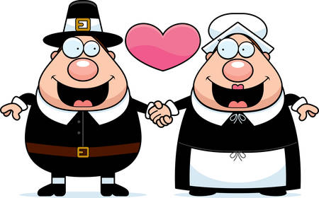 couple holding hands: A cartoon illustration of a Pilgrim couple holding hands and in love. Illustration