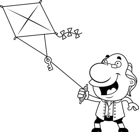 An illustration of a cartoon Ben Franklin flying a kite with a key. Çizim