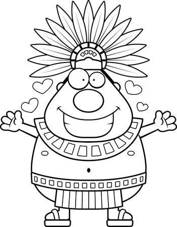 Une illustration de bande dessinée d'un roi aztèque prêt à donner un câlin.