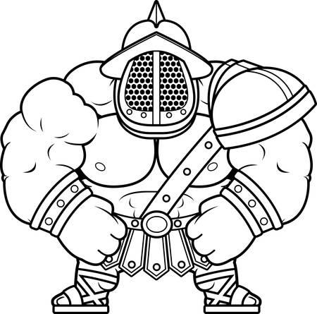 A cartoon illustration of a muscular gladiator flexing.
