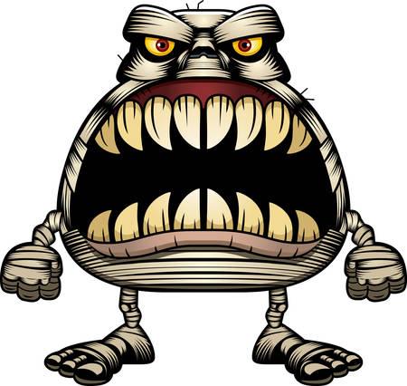 날카로운 치아의 전체 큰 입으로 엄마의 만화 그림. 일러스트