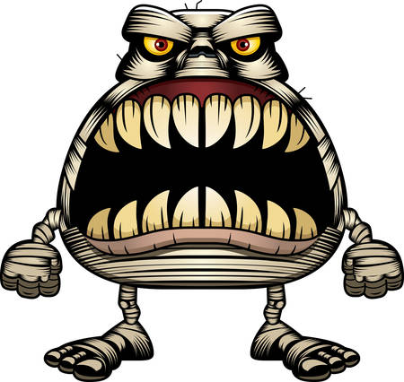 A cartoon illustration of a mummy with a big mouth full of sharp teeth.