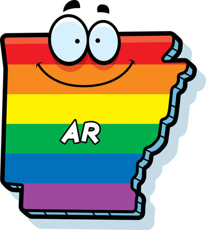 ar: A cartoon illustration of the state of Arkansas smiling with rainbow flag colors.