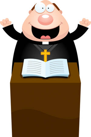 clipart podium: A cartoon illustration of a priest giving a sermon.