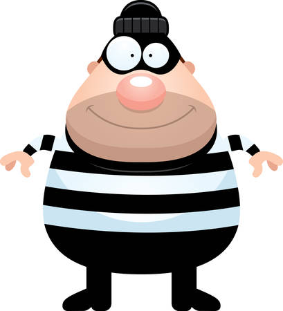 burglar: A cartoon illustration of a burglar looking happy. Illustration