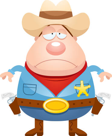 gunfighter: A cartoon illustration of a sheriff looking sad.