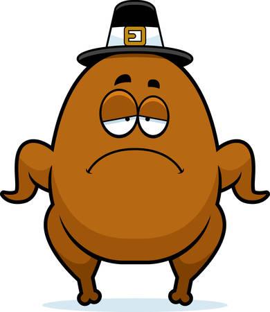 A cartoon illustration of a turkey pilgrim looking sad.