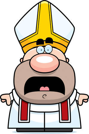 pope: A cartoon illustration of a pope looking scared. Illustration
