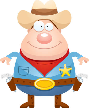 gunfighter: A cartoon illustration of a sheriff looking happy.
