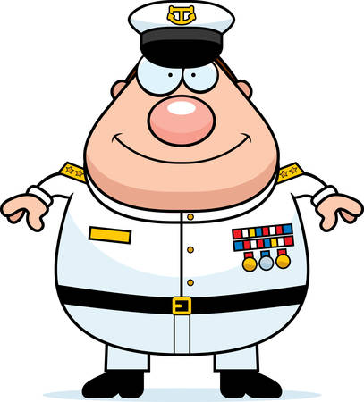 A cartoon illustration of a Navy Admiral looking happy.