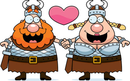 couple holding hands: A cartoon illustration of a Viking couple holding hands and in love.