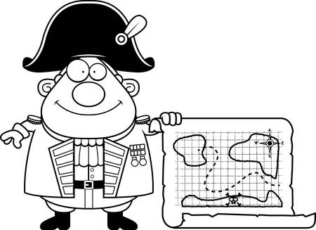A cartoon illustration of a British Admiral with a treasure map.