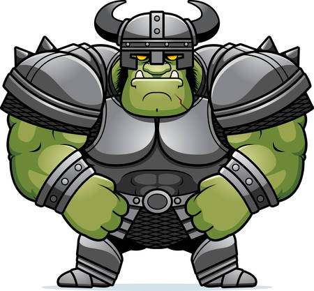 A cartoon illustration of a muscular orc in armor.