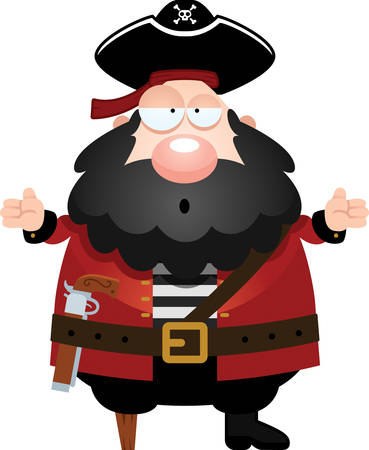 A cartoon illustration of a pirate looking confused.