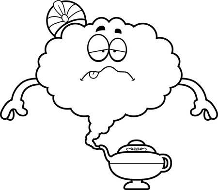 djinn: A cartoon illustration of a genie looking sick.