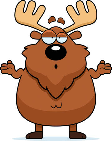 A cartoon illustration of a moose looking confused.