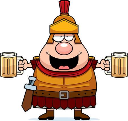 army cartoon: A cartoon illustration of a Roman Centurion drinking beer.