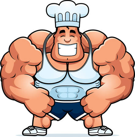 steroids: A cartoon illustration of a bodybuilding chef flexing.