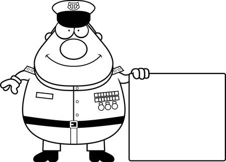 A cartoon illustration of a Navy Admiral with a sign.