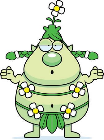 sprite: Una ilustraci�n de dibujos animados de un sprite bosque buscando confundir.