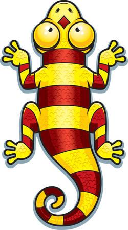 lagartija: Un ejemplo de la historieta de un lagarto amarillo y rojo con rayas.