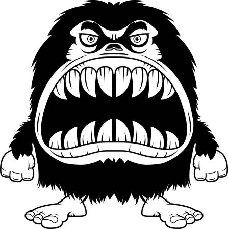 hairy: A cartoon illustration of a hairy monster with a big mouth full of sharp teeth. Illustration