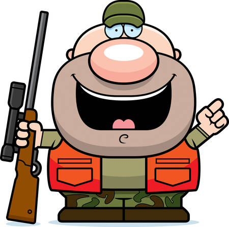 A cartoon illustration of a hunter with an idea.