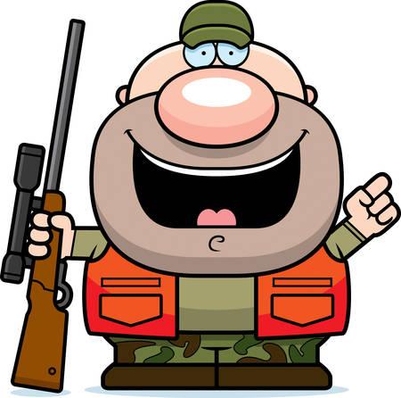 Un fumetto illustrazione di un cacciatore con un'idea. Vettoriali