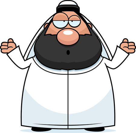 sheik: A cartoon illustration of a sheikh looking confused.