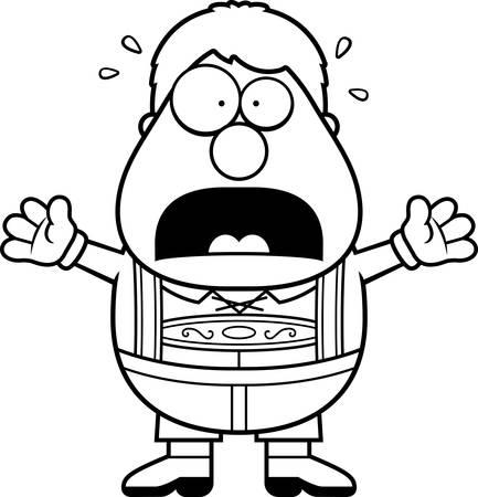 lederhosen: A cartoon illustration of a German boy in lederhosen panicking. Illustration